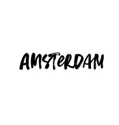 amsterdam handwritten ink pen lettering vector image