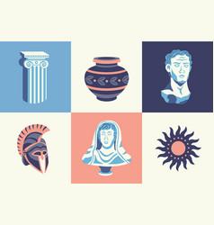 antique statues design concept vector image