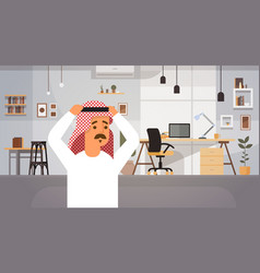 Arab business man holding head problem concept vector
