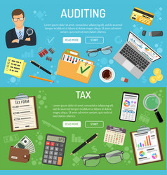 Auditing tax and business accounting banners vector