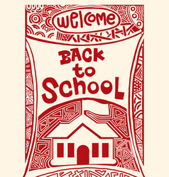 Back to school hand drawn vintage with hand vector