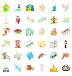 big building icons set cartoon style vector image
