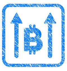 Bitcoin send arrows framed stamp vector