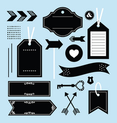 black empty tags labels and emblems icons set vector image