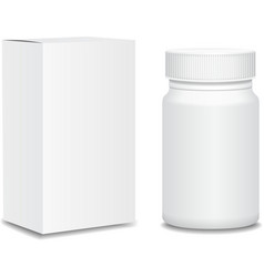 Blank medicine bottle and package isolated on vector image vector image