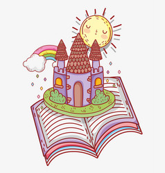 Book literature with sun and castle with rainbow vector