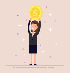 businesswoman or manager holds a gold coin over vector image