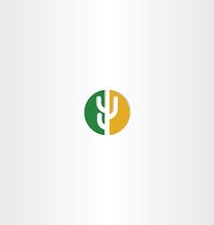 Cactus circle desert icon logo vector