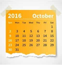 Calendar october 2016 colorful torn paper vector