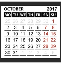 calendar sheet October 2017 vector image