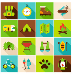 Camping hiking colorful icons vector