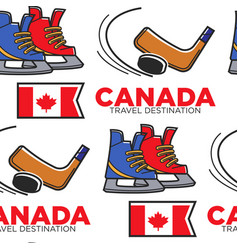 canadian hockey items and national flag seamless vector image