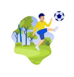 Cartoon little boy kicking ball on green field vector