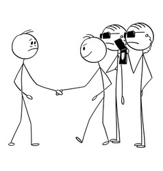 Cartoon man shaking hands with businessman vector