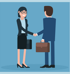 cartoon men and women shaking hands vector image