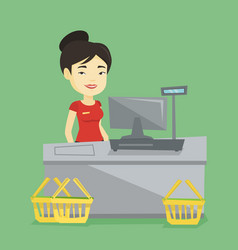 Cashier standing at the checkout in supermarket vector