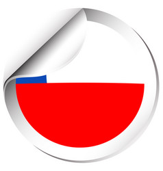 Chile flag in sticker design vector