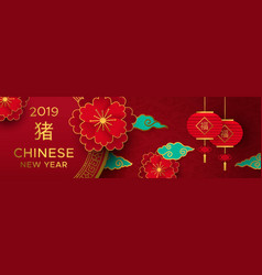 Chinese new year of pig red and gold paper banner vector