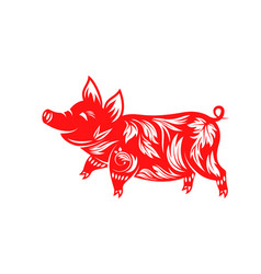 chinese zodiac sign year pig happy new year vector image