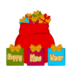 christmas present sack happy new year vector image