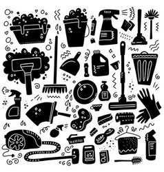 cleaning tools set black signs cleaning vector image