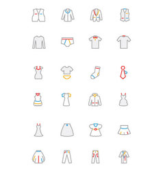 Clothes Colored Outline Icons 2 vector image