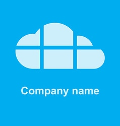 cloud on a blue background the cloud is divided by vector image