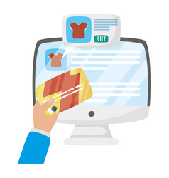 Computer with tshirts and hand holding credit card vector