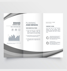Creative gray wave trifold business brochure vector