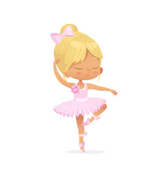 Cute baby girl ballerina dance isolated pink dress vector