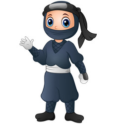 Cute cartoon ninja waving hand vector