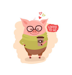 Cute cartoon pig wearing glasses with the cup of vector