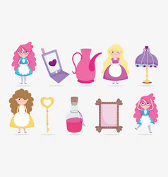 Cute girls with mobile lamp mirror key lotion vector