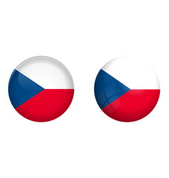 czechia flag under 3d dome button and on glossy vector image