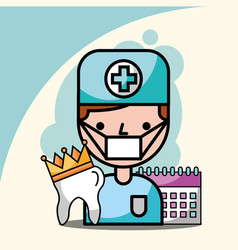 dentist boy tooth crown and calendar reminder vector image