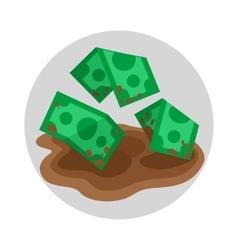 Dirty money flat icon vector image
