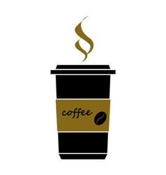 Disposable coffee cup icon with coffee beans logo vector