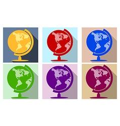 Earth globe flat icon set vector