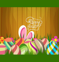 Easter greeting card with colorful eggs on wood vector