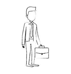 elegant businessman with portfolio avatar vector image