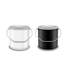 Equipment for painting black and white tin bucket vector