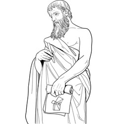 euclides portrait in line art vector image
