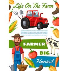 Farmer agronomist agriculture and cattle farm vector