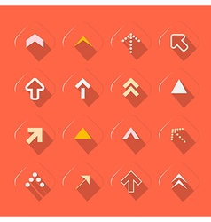 Flat Design Arrows Set on Red Background vector image