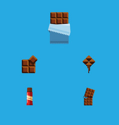 flat icon bitter set of cocoa bitter delicious vector image