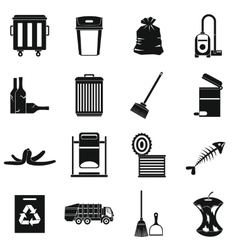 Garbage thing icons set simple style vector