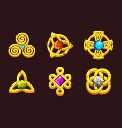 Golden celtic symbols with gems cartoon set vector