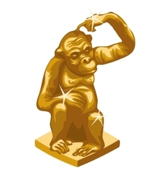 Golden statue of the thinking monkey vector