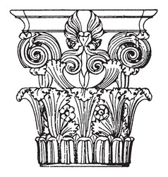 Greek corinthian capital monument in lysikrates vector