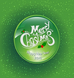 Green ball merry christmas vector image